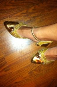 Zelfs met echte gouden dansschoentjes!