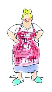 In de deuropening staat een forse boerin haar handen af te drogen aan een rood geblokt schort. 'Ha Kabeljauw! Het eten staat klaar!'