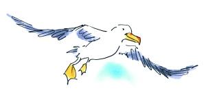 'Waarom', waaróm ben je me op mijn kop aan het kakken?' 'Gewoon, vind ik lekker!' en de albatros maakt zich klaar voor de volgende voltreffer. 'FLATS!'