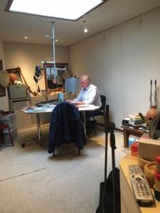 André in de studio van uitgeverij Rubinstein